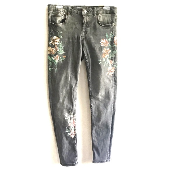 Zara Gray High Rise Skinny Jeans Floral Painted 8